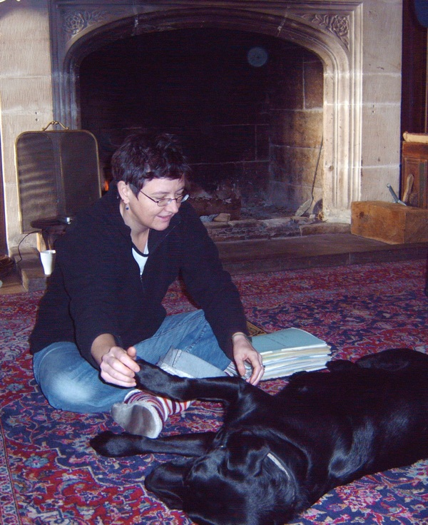 Relaxing with Coco in front of the fire, Kinnersley Castle