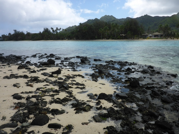 View of Rarotonga from Taaoka motu