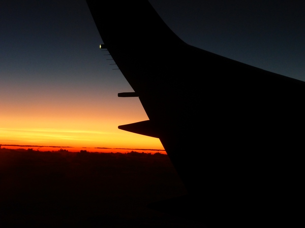 First South Pacific sunrise, from the plane to Rarotonga