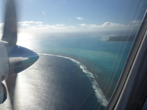 Flying in to Aitutaki