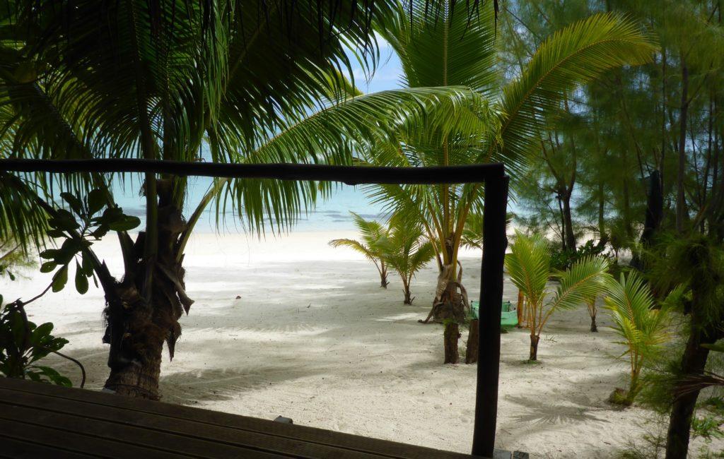 View from the deck of the Beach Hut, Matriki (Aitutaki)