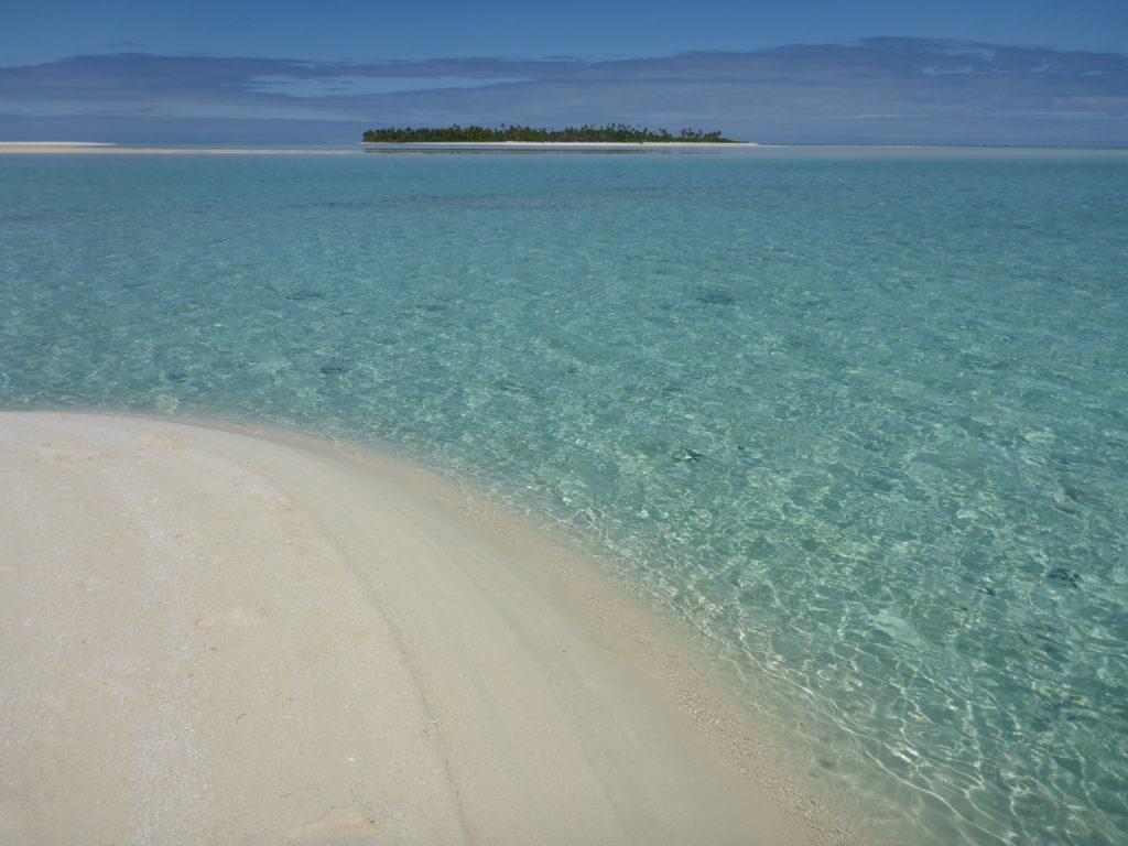 Sandbar in Aitutaki lagoon, looking towards One Foot Island