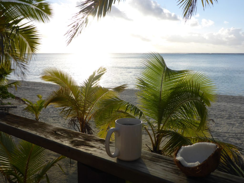 Coconut and tea time, looking west from Vaikoa (Aitutaki)